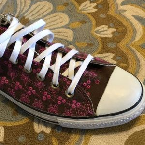 New brown in embordered converse shoes
